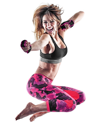 피트 니스 권투 필 라 테 스 운동 흰색 배경에 고립 된 스튜디오에서 piloxing excercises 운동 한 백인 여자