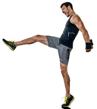 one caucasian fitness man exercising cardio boxing exercises in studio  isolated on white background Stock Photo