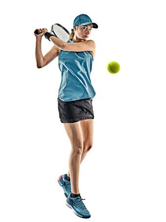 Een jonge Kaukasische tennis vrouw geïsoleerd in silhouet op witte achtergrond Stockfoto - 87556600
