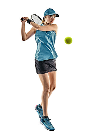 one young caucasian tennis woman isolated in silhouette on white background Stock fotó - 87556600