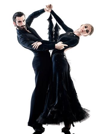 白い背景の上分離された 1 つの白人男性と女性カップル社交タンゴ サルサ ダンサー ダンス スタジオ シルエットで 写真素材