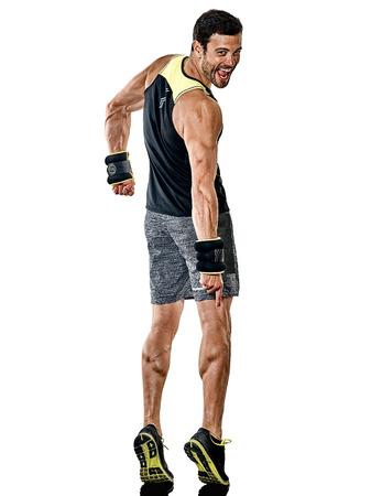 one caucasian fitness man exercising cardio boxing exercises in studio  isolated on white background Foto de archivo