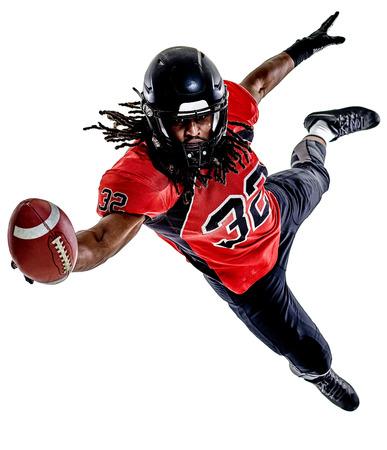 Ein American Football-Spieler Mann isoliert auf weißem Hintergrund Standard-Bild - 88207093