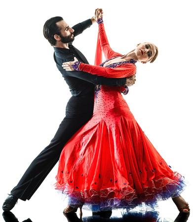 eine kaukasischen Mann und Frau Paar Ballsaal Tango Salsa Tänzerin tanzen im Studio Silhouette isoliert auf weißem Hintergrund Standard-Bild