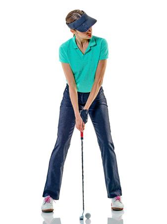 한 백인 여자 골퍼 흰색 배경에 고립 된 스튜디오에서 골프