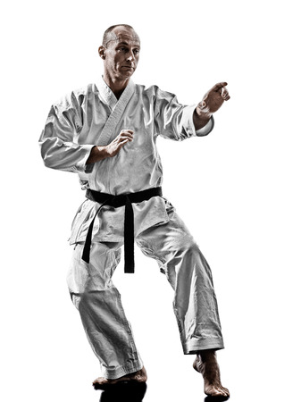 one karate kata training man isolated on white background