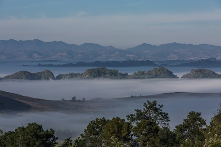 beautiful landscape panorama on a valley between Kalaw and Inle lake Shan state in Myanmar (Burma) Banco de Imagens