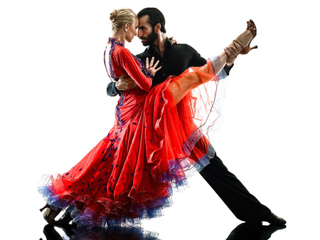 Caucasian man and woman couple ballroom tango salsa dancer dancing in studio silhouette isolated on white background