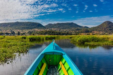 가로보기 미얀마 (버마)에서 Inle 호수 Shan 상태 보트 stock photography 미얀마 스톡 콘텐츠