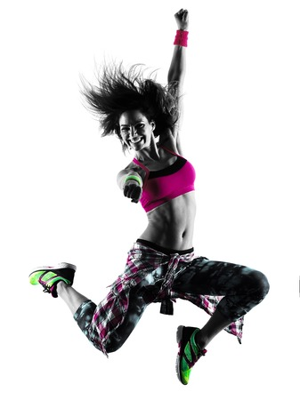 one caucasian woman zumba fitness exercises dancer dancing isolated in silhouette on white background