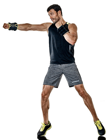 白い背景で隔離のスタジオでカーディオ ボクシング練習を行使人白人フィットネス 写真素材 - 89689712
