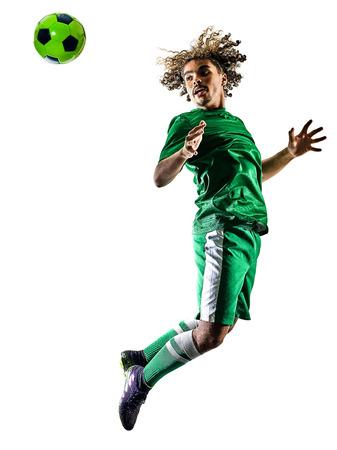 1 つの混合レース若いティーネー ジャー サッカー プレーヤー人白い背景で隔離のシルエットで遊ぶ