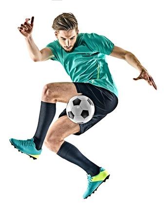 Een Kaukasische voetballer man jungling geïsoleerd op een witte achtergrond Stockfoto