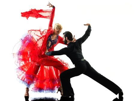 een blanke man en vrouw paar ballroom tango salsa danseres dansen in studio silhouet op een witte achtergrond Stockfoto