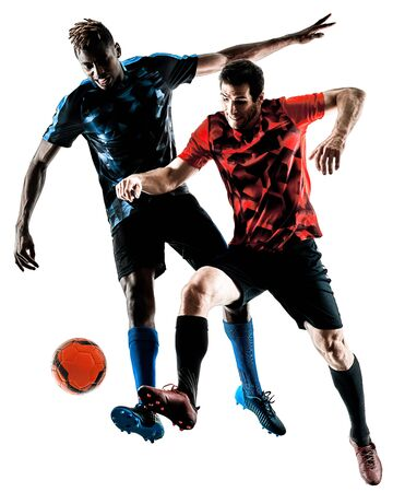 two soccer players men in studio silhouette isolated on white background Stok Fotoğraf - 94115012