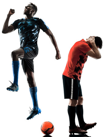 two soccer players men in studio silhouette isolated on white background Stok Fotoğraf - 94133409