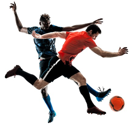 two soccer players men in studio silhouette isolated on white background Stok Fotoğraf - 94714772