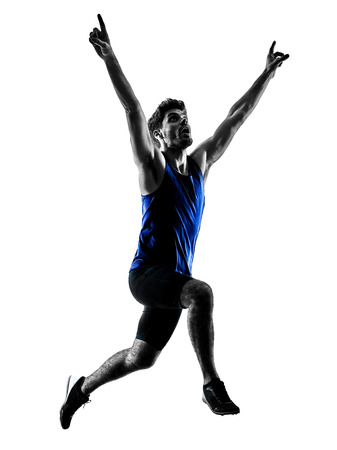 one caucasian runner sprinter running sprinting athletics man silhouette isolated on white background Imagens - 94605330