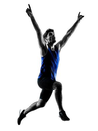 one caucasian runner sprinter running sprinting athletics man silhouette isolated on white background Reklamní fotografie - 94605330