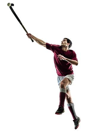 Een blanke veld hockey speler man geïsoleerde silhouet op witte achtergrond Stockfoto - 94678285