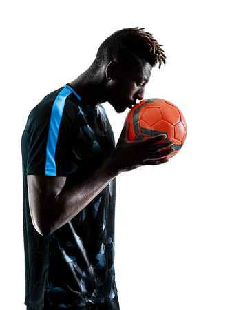 one african soccer player man playing in studio isolated on white background Stock fotó