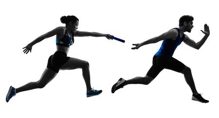 Atletiek estafette lopers sprinters lopende lopers in silhouet geïsoleerd op een witte achtergrond Stockfoto - 96461784