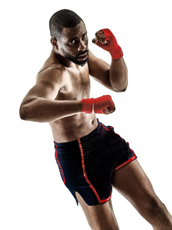 one caucasian Muay Thai kickboxing kickboxer thai boxing man isolated on white background Stock Photo