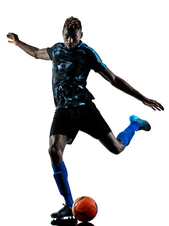 one african soccer player man playing in studio isolated on white background Reklamní fotografie - 96255102