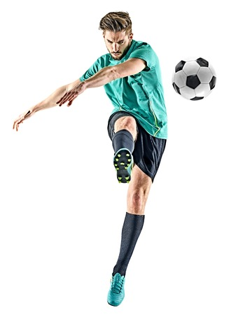 one caucasian soccer player man isolated on white background Standard-Bild