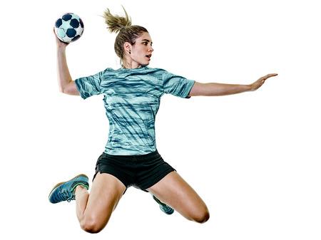 白い背景に隔離されたハンドボールプレーヤーを果たしている1人の白人若いティーンエイジャーの女の子 写真素材