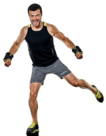 one caucasian fitness man exercising cardio boxing exercises in studio isolated on white background 写真素材 - 97213137