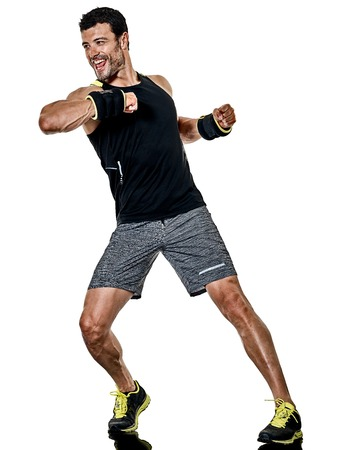 one caucasian fitness man exercising cardio boxing exercises in studio isolated on white background 写真素材 - 97700680