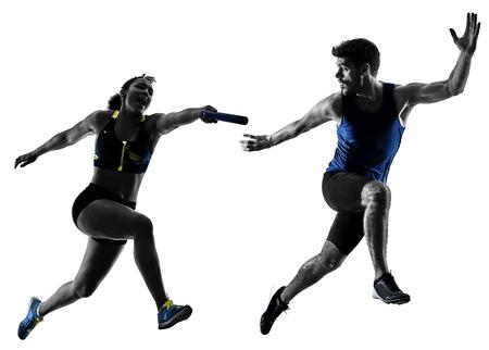 Atletismo corredores de relevos velocistas corriendo corredores en silueta aislado sobre fondo blanco Foto de archivo - 97795945