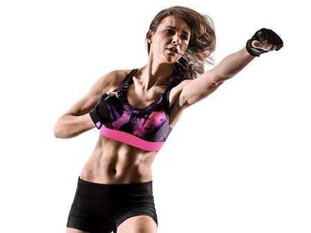 Une femme caucasienne exercice cardio boxe cross core workout fitness exercice aérobic silhouette isolé sur fond blanc