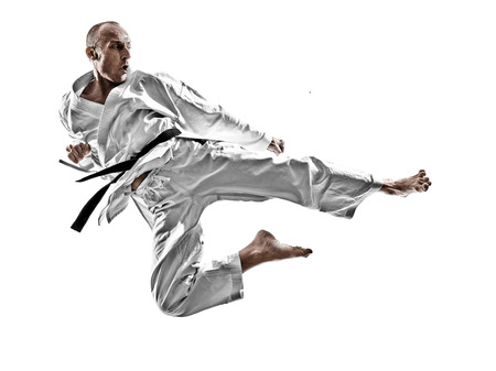 one karate kata training man isolated on white background Banco de Imagens - 98803746