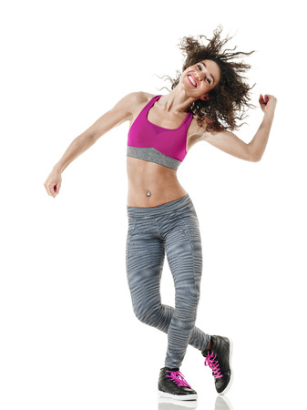 one mixed race woman dancer dancing fitness exercises isolated on white background