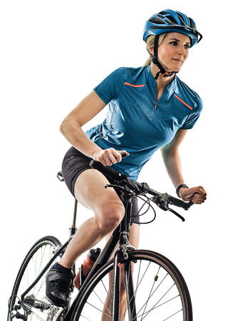 one caucasian cyclist woman cycling riding bicycle  isolated on white background Stock Photo