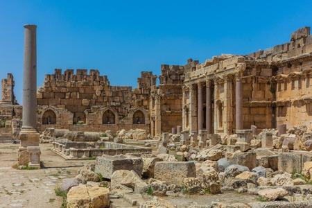 Temple of Jupiter romans ruins of  Baalbek in Beeka valley Lebanon Middle east Foto de archivo
