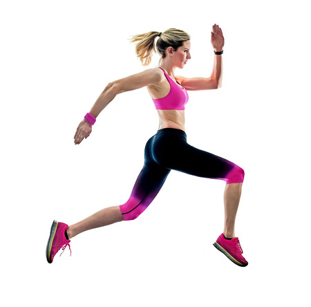 one caucasian woman sport runner running jogger jogging isolated on white background Stok Fotoğraf