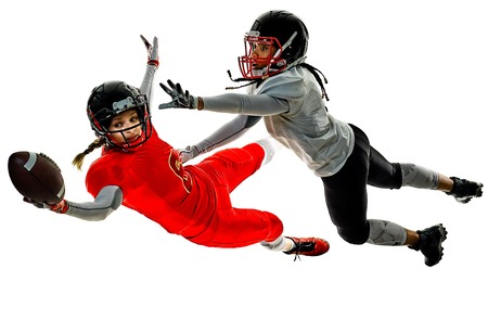 two women teenager girls american football players  isolated on white background silhouette with shadows Banque d'images