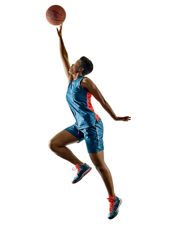 one african Basketball players woman teenager girl isolated on white background with shadows Reklamní fotografie