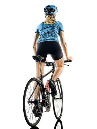 one caucasian cyclist woman cycling riding bicycle  back rear view  isolated on white background