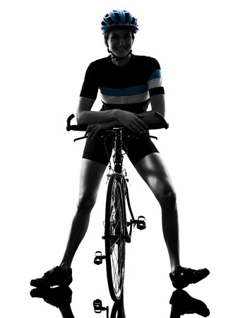 one caucasian cyclist woman cycling riding bicycle standing smiling isolated on white background Stok Fotoğraf