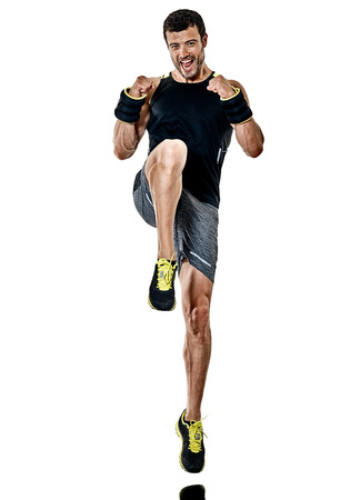 one caucasian fitness man exercising cardio boxing exercises in studio isolated on white background 写真素材 - 102818342