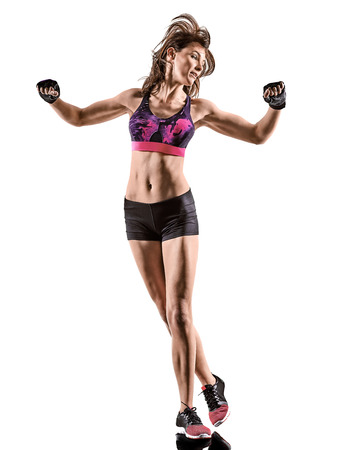 one caucasian woman exercising cardio boxing cross core workout fitness exercise aerobics silhouette isolated on white background 写真素材 - 102818529