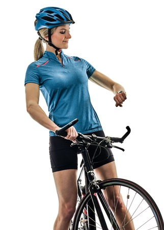 one caucasian cyclist woman cycling riding bicycle time watch isolated on white background Stok Fotoğraf