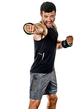 one caucasian fitness man exercising cardio boxing exercises in studio  isolated on white background 写真素材