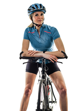one caucasian cyclist woman cycling riding bicycle standing smiling isolated on white background Stock Photo