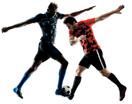 two soccer players men in studio silhouette isolated on white background Stok Fotoğraf - 104398461