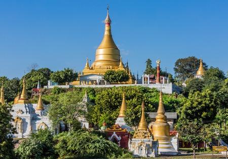 Sagaing  hills and temples skyline near Mandalay Myanmar (Burma)